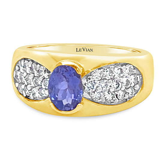 Le Vian Grand Sample Sale™ Ring featuring Cornflower Ceylon Sapphire™ Vanilla Diamonds® set in 14K Honey Gold™