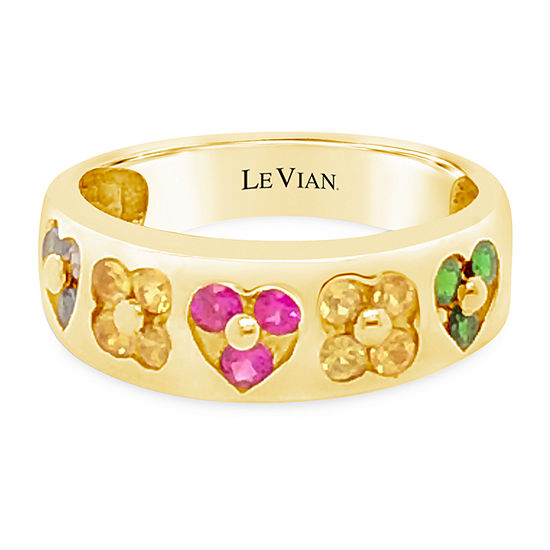 Le Vian Grand Sample Sale™ Ring featuring Yellow Sapphire Bubble Gum Pink Sapphire™ Cornflower Ceylon Sapphire™ Forest Green Tsavorite™ set in 14K Honey Gold™
