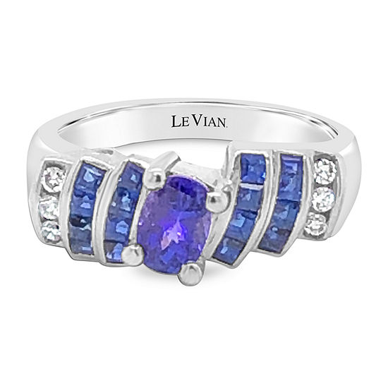 LIMITED QUANTITIES! Le Vian Grand Sample Sale™ Ring featuring Blueberry Tanzanite® Blueberry Sapphire™ Vanilla Diamonds® set in 18K Vanilla Gold®