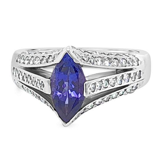 LIMITED QUANTITIES! Le Vian Grand Sample Sale™ Ring featuring Blueberry Tanzanite® Vanilla Diamonds® set in 18K Vanilla Gold®