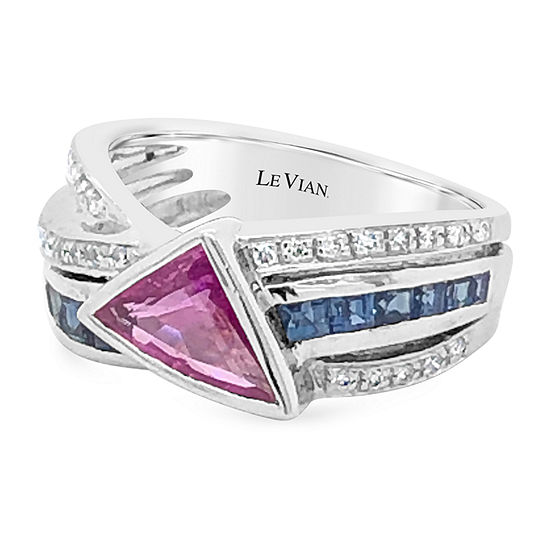 LIMITED QUANTITIES! Le Vian Grand Sample Sale™ Ring featuring Bubble Gum Pink Sapphire™ Blueberry Sapphire™ Vanilla Diamonds® set in 18K Vanilla Gold®
