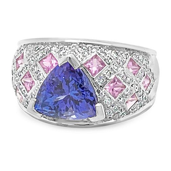 Le Vian Grand Sample Sale™ Ring featuring 3Blueberry Tanzanite® Bubble Gum Pink Sapphire™ Vanilla Diamonds® set in 18K Vanilla Gold®