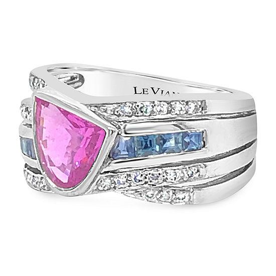 Le Vian Grand Sample Sale™ Ring featuring Bubble Gum Pink Sapphire™ Blueberry Sapphire™ Vanilla Diamonds® set in 18K Vanilla Gold®
