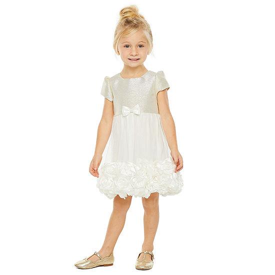 Nanette Baby Girls Embellished Short Sleeve Fit & Flare Dress - Toddler