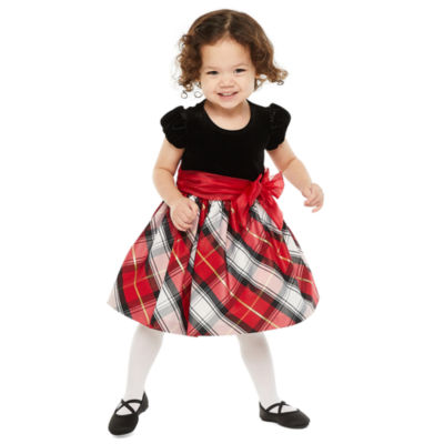 Bonnie Jean Christmas Toddler Girls Short Sleeve Party Dress