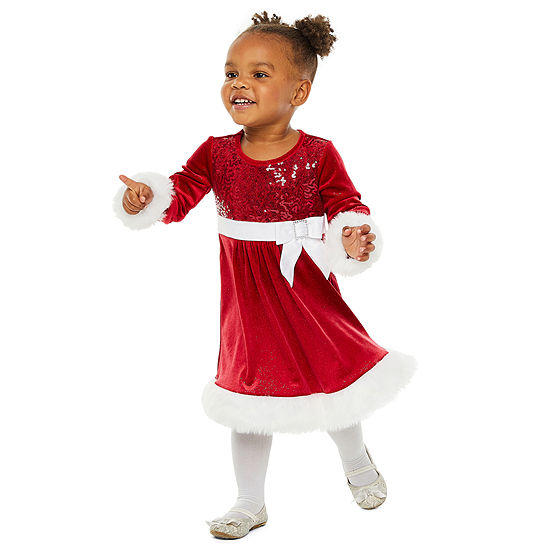 Bonnie Jean Christmas Girls Long Sleeve Party Dress - Toddler