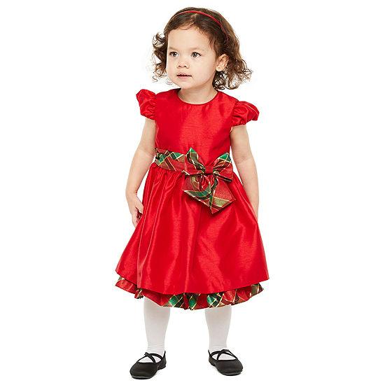 Bonnie Jean Christmas Girls Short Sleeve Party Dress - Toddler