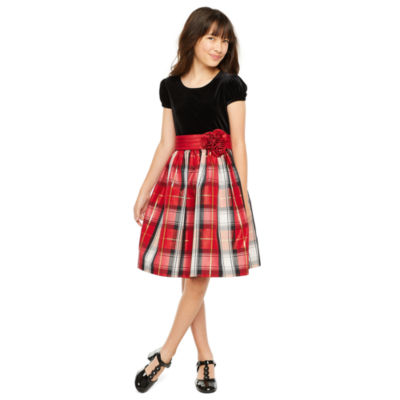 Bonnie Jean Girls Short Sleeve Plaid A-Line Dress