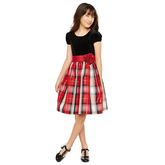 Bonnie Jean Girls Short Sleeve Plaid A-Line Dress