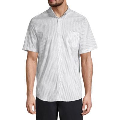 St. John's Bay Stretch Mens Short Sleeve Button-Front Shirt
