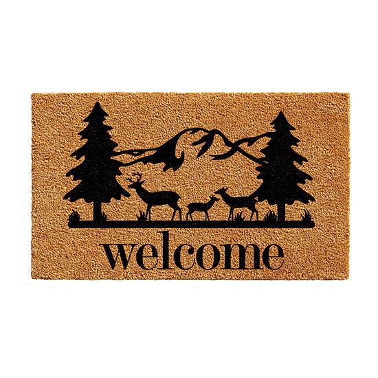 Rocky Mountain Welcome Rectangular Outdoor Doormat