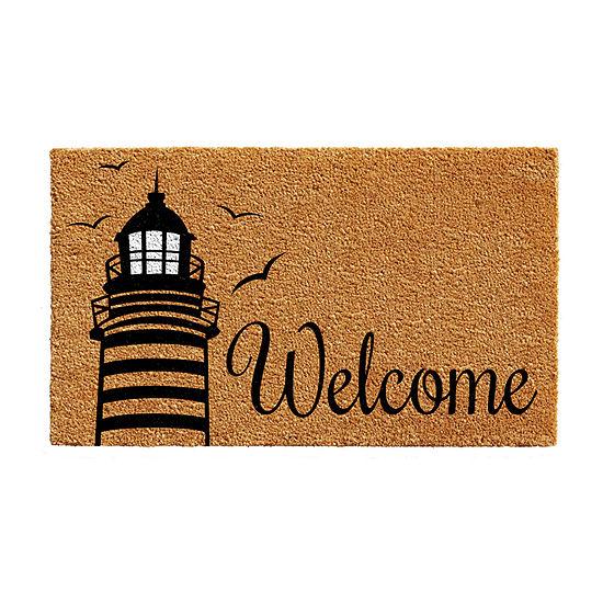 Calloway Mills Lighthouse Welcome Rectangular Outdoor Doormat