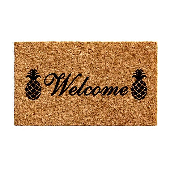 Welcome Pineapples Rectangular Outdoor Doormat