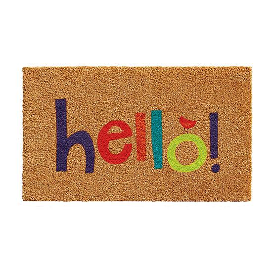 Colorful Hello Rectangular Outdoor Doormat