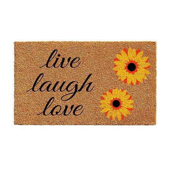 Sunflower Live Laugh Love Rectangular Outdoor Doormat