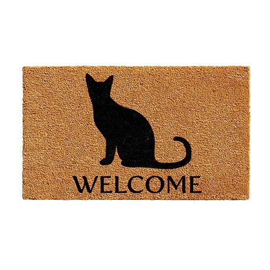Black Cat Welcome Rectangular Outdoor Doormat