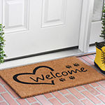 Open Heart Paws Rectangular Outdoor Doormat