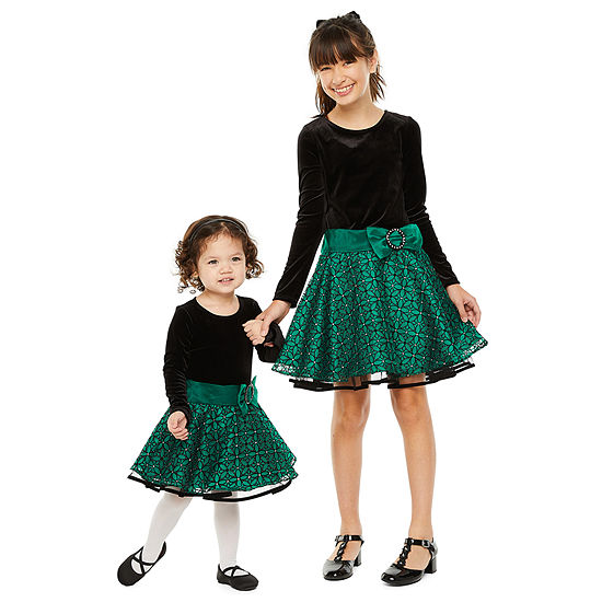 Sister & Me Bonnie Jean Green Drop Waist Dress