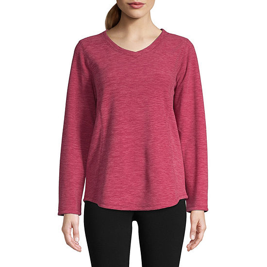 St. John's Bay Active Tall Womens V Neck Long Sleeve Sweatshirt
