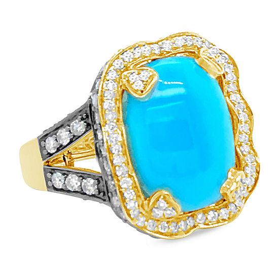 Le Vian Grand Sample Sale™ Ring featuring Robins Egg Blue Turquoise™ Chocolate Diamonds® Vanilla Diamonds® set in 14K Honey Gold™
