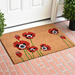 Red Poppies Rectangular Outdoor Doormat