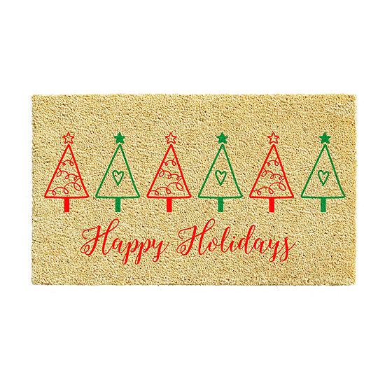 Christmas Tree Fun Rectangular Outdoor Doormat