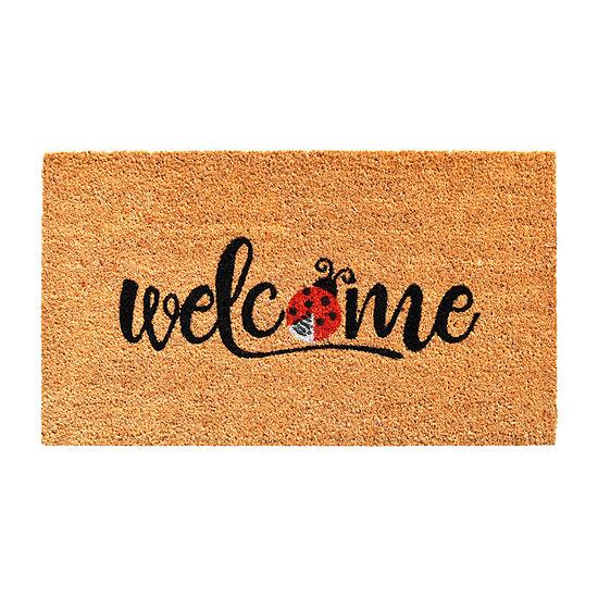Welcome Ladybug Rectangular Outdoor Doormat
