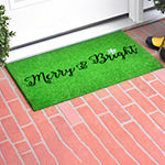 Green Merry Bright Rectangular Outdoor Doormat