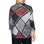 Alfred Dunner Well Red-Womens Round Neck 3/4 Sleeve T-Shirt