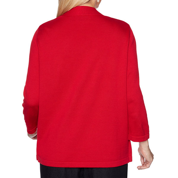 Alfred Dunner Well Red Womens Round Neck 3/4 Sleeve Layered Sweaters