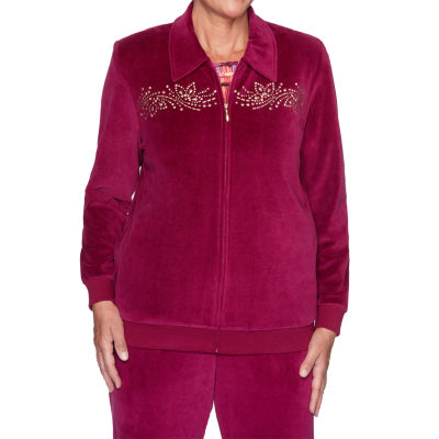 Alfred Dunner Bright Idea Velour Lightweight Track Jacket