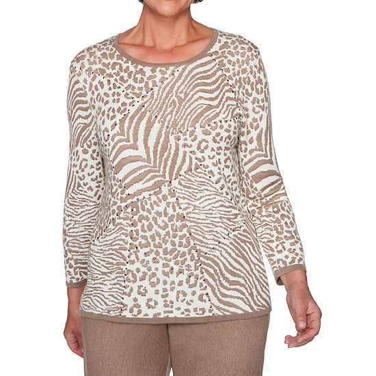 Alfred Dunner First Frost Womens Round Neck 3/4 Sleeve Animal Pullover Sweater