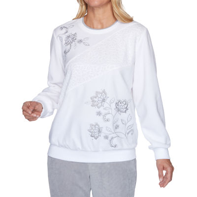 Alfred Dunner Lake Geneva-Womens Crew Neck Long Sleeve T-Shirt