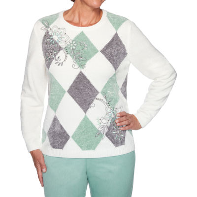 Alfred Dunner Lake Geneva Womens Crew Neck Long Sleeve Diamond Pullover Sweater