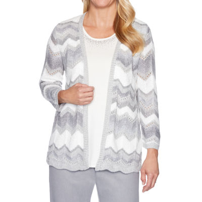 Alfred Dunner Lake Geneva Womens Crew Neck Long Sleeve Chevron Layered Sweaters