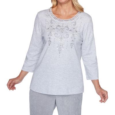 Alfred Dunner Lake Geneva-Womens Crew Neck 3/4 Sleeve T-Shirt