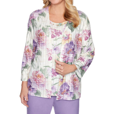Alfred Dunner Loire Valley Womens Round Neck 3/4 Sleeve Layered Top