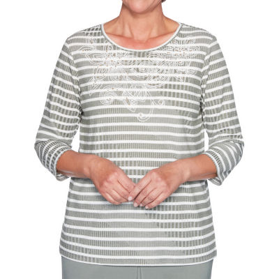 Alfred Dunner Loire Valley Womens Round Neck 3/4 Sleeve T-Shirt