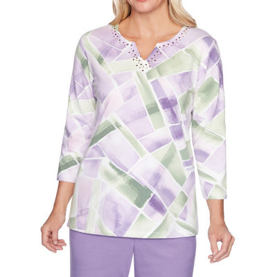 Alfred Dunner Loire Valley-Womens Crew Neck 3/4 Sleeve T-Shirt