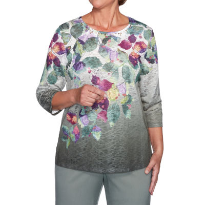 Alfred Dunner Loire Valley-Womens Round Neck 3/4 Sleeve T-Shirt