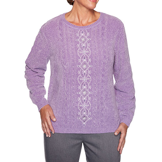 Alfred Dunner Loire Valley Womens Round Neck Long Sleeve Pullover Sweater