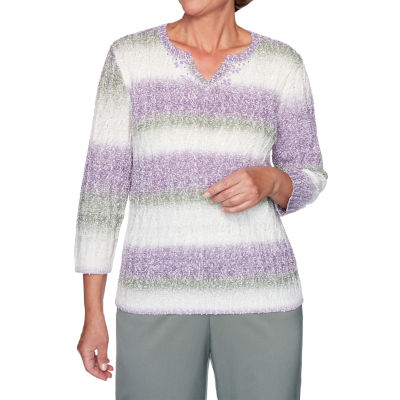 Alfred Dunner Loire Valley Womens Split Crew Neck Long Sleeve Striped Pullover Sweater