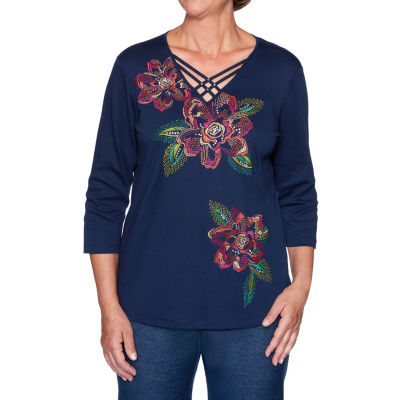 Alfred Dunner Road Trip-Womens V Neck 3/4 Sleeve T-Shirt