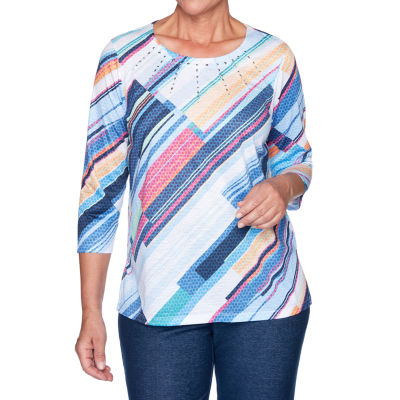 Alfred Dunner Road Trip-Womens Round Neck 3/4 Sleeve T-Shirt