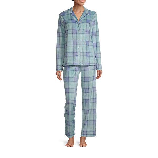 Adonna Womens-Petite Long Sleeve Pant Pajama Set 2-pc.