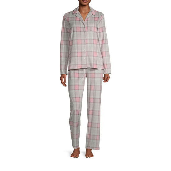 Adonna Womens-Petite Long Sleeve Pant Pajama Set 2-pc.