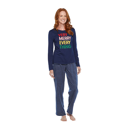 North Pole Trading Co. Very Merry Long Sleeve Womens-Petite Pant Pajama Set 2-pc.