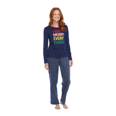 North Pole Trading Co. Very Merry Long Sleeve Womens-Tall Pant Pajama Set 2-pc.