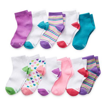 Hanes Ultimate Little & Big Girls 11 Pair Low Cut Socks, Large , White
