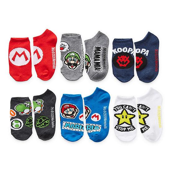 Little & Big Boys 6 Pair Super Mario No Show Socks